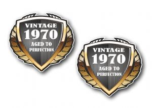 2 pcs of 1970 Year Dated Vintage Shield Retro Vinyl Car Motorcycle Cafe Racer Helmet Sticker 55x50mm